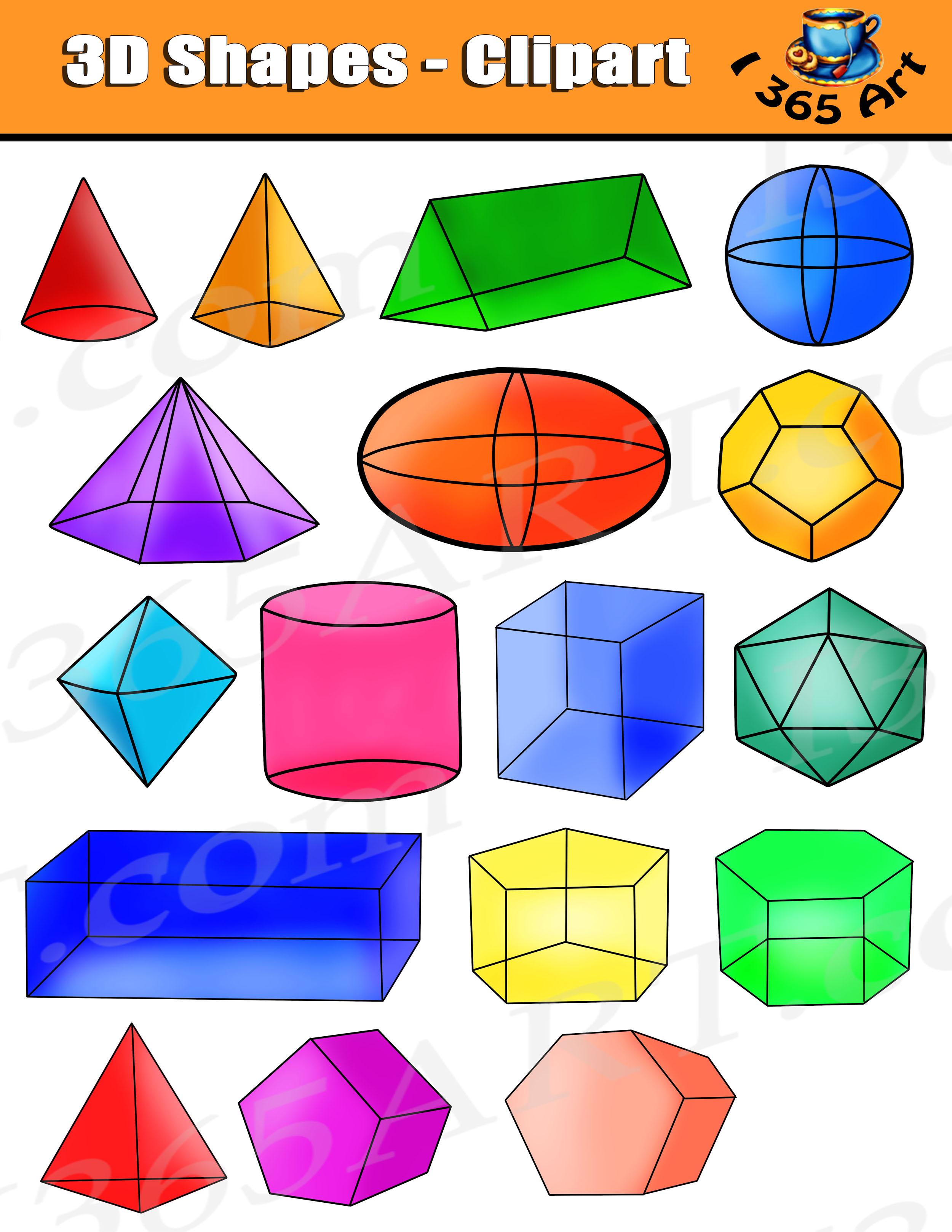 Shapes Clipart, Isometric 3D Shapes Digital Graphics.