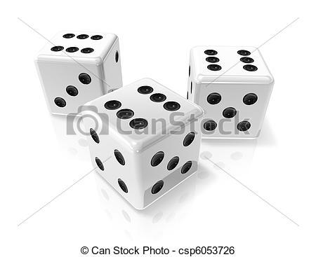 three white win dices.