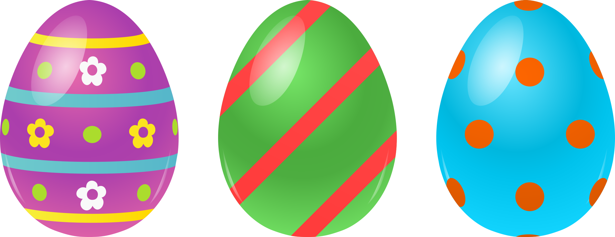 3 Easter Eggs by @cyberscooty, 3 differents decorated eggs.