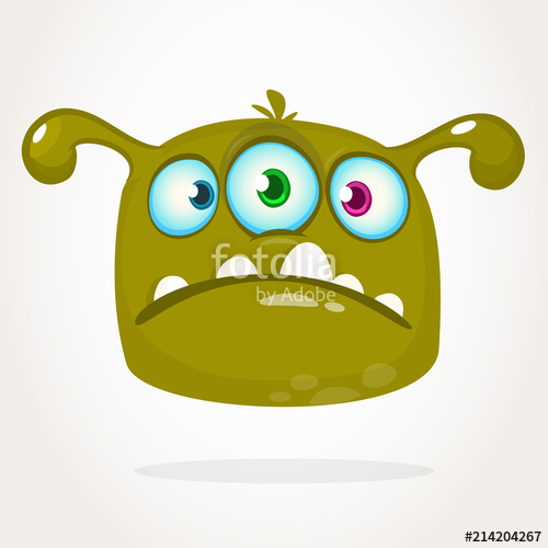 Happy cartoon three eyed alien character icon. Halloween.