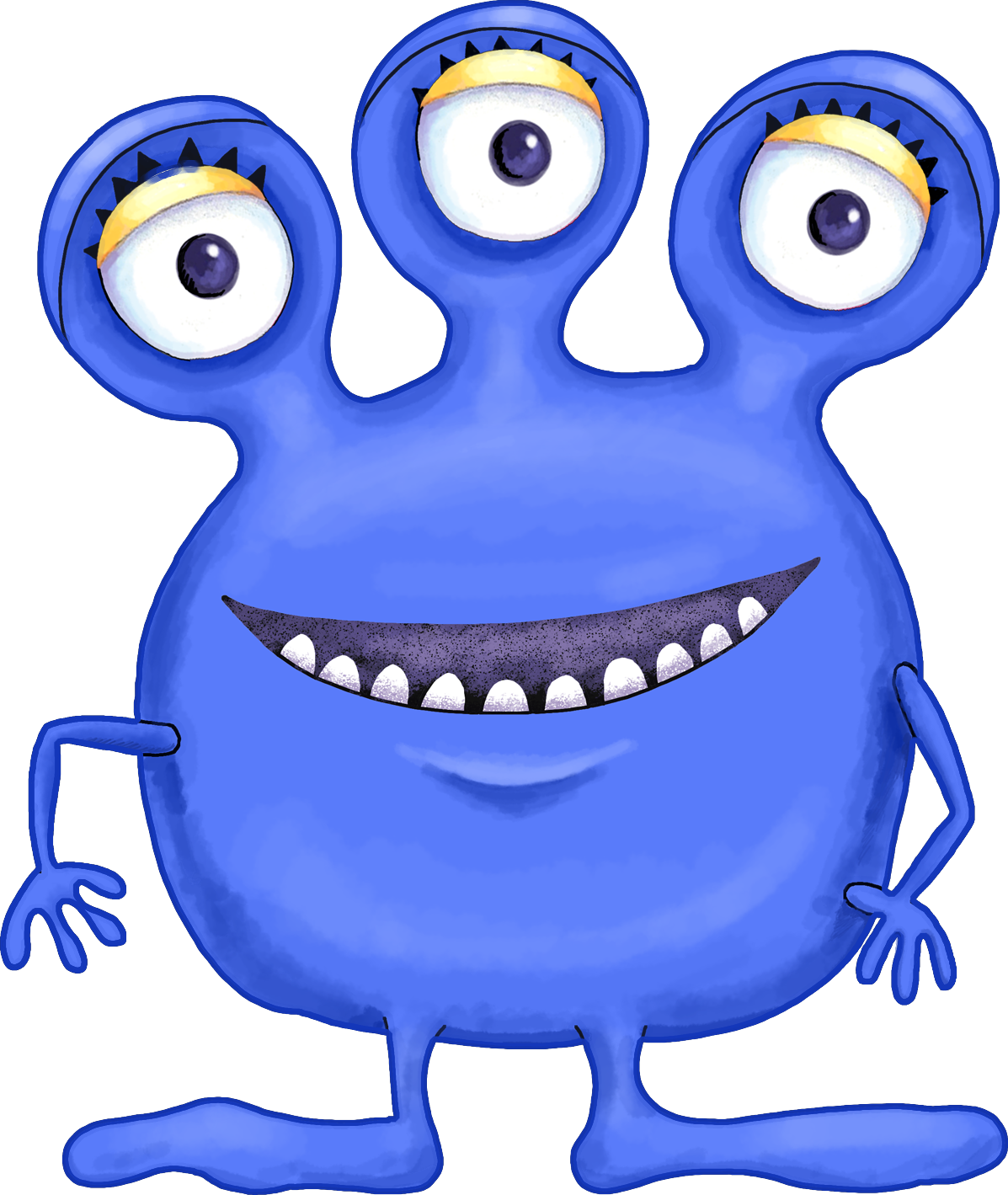 3 eyed monster holding a heart clipart.
