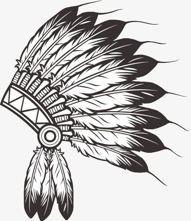 Indian Feather Hat PNG, Clipart, Black And White, Black.