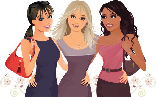 3 girl best friends clipart.