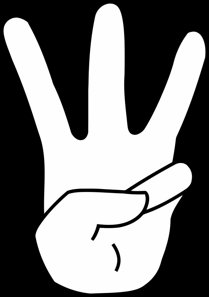 Number 3 clipart 3 finger hand, Number 3 3 finger hand.