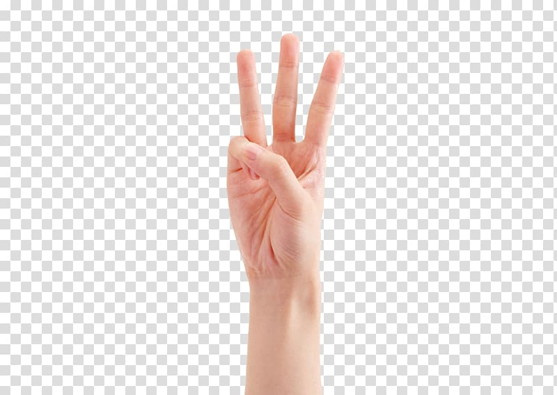 Person\'s right hand, Thumb Hand model Gesture, Three fingers.