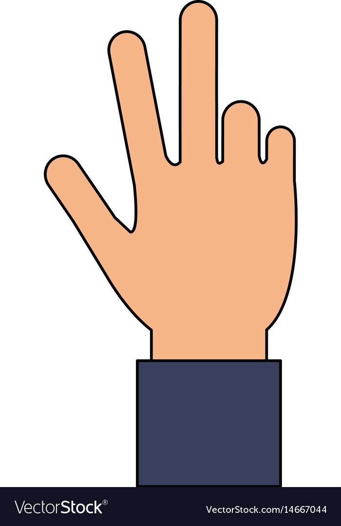 Color image cartoon hand with three fingers up.