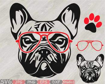 French bulldog whit Glasses Silhouette SVG clipart Head Dog paw Family Pet  819S.