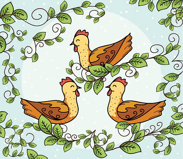 Three French Hens Illustrations, Royalty.
