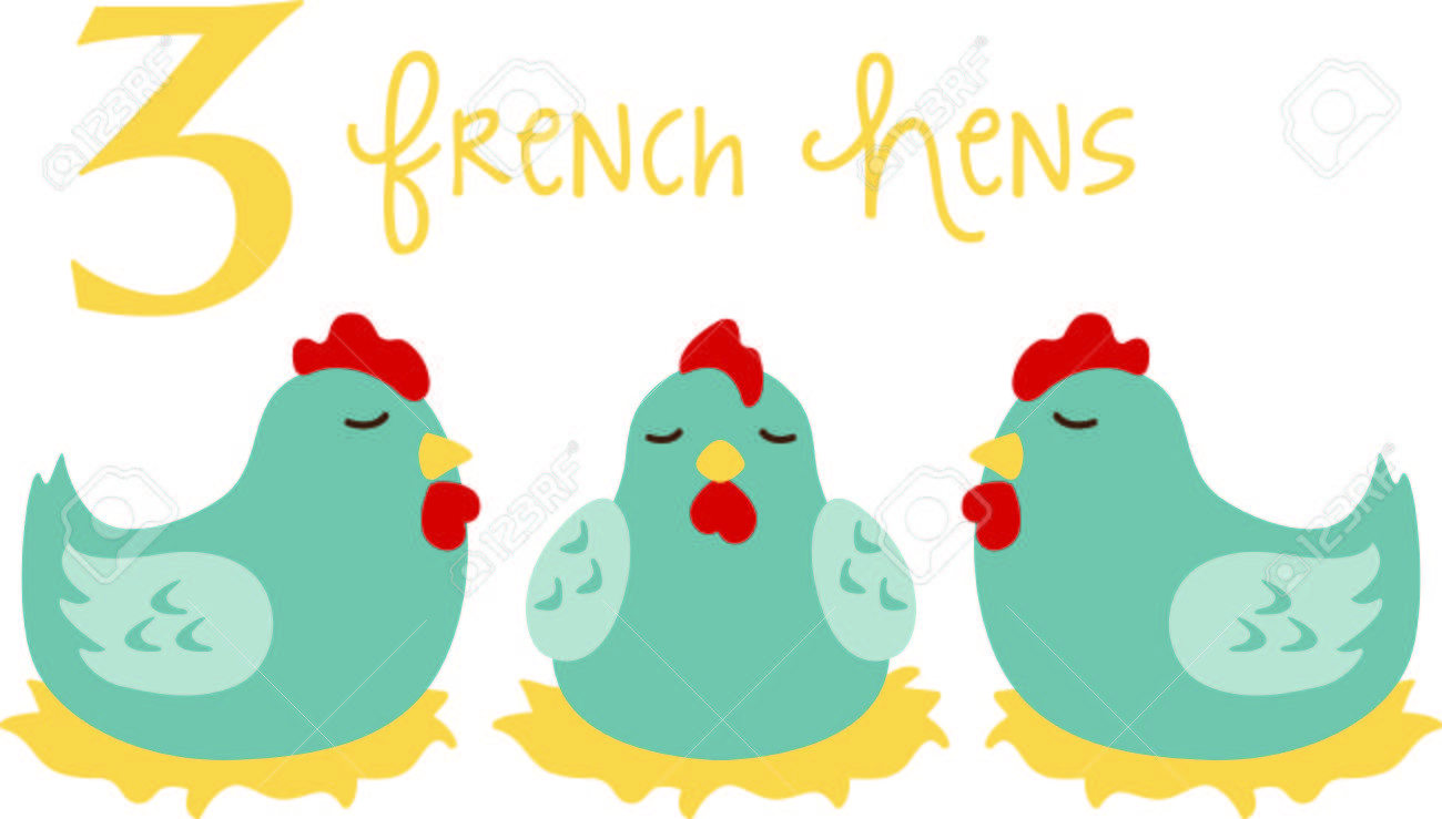 3 French Hens Clipart.