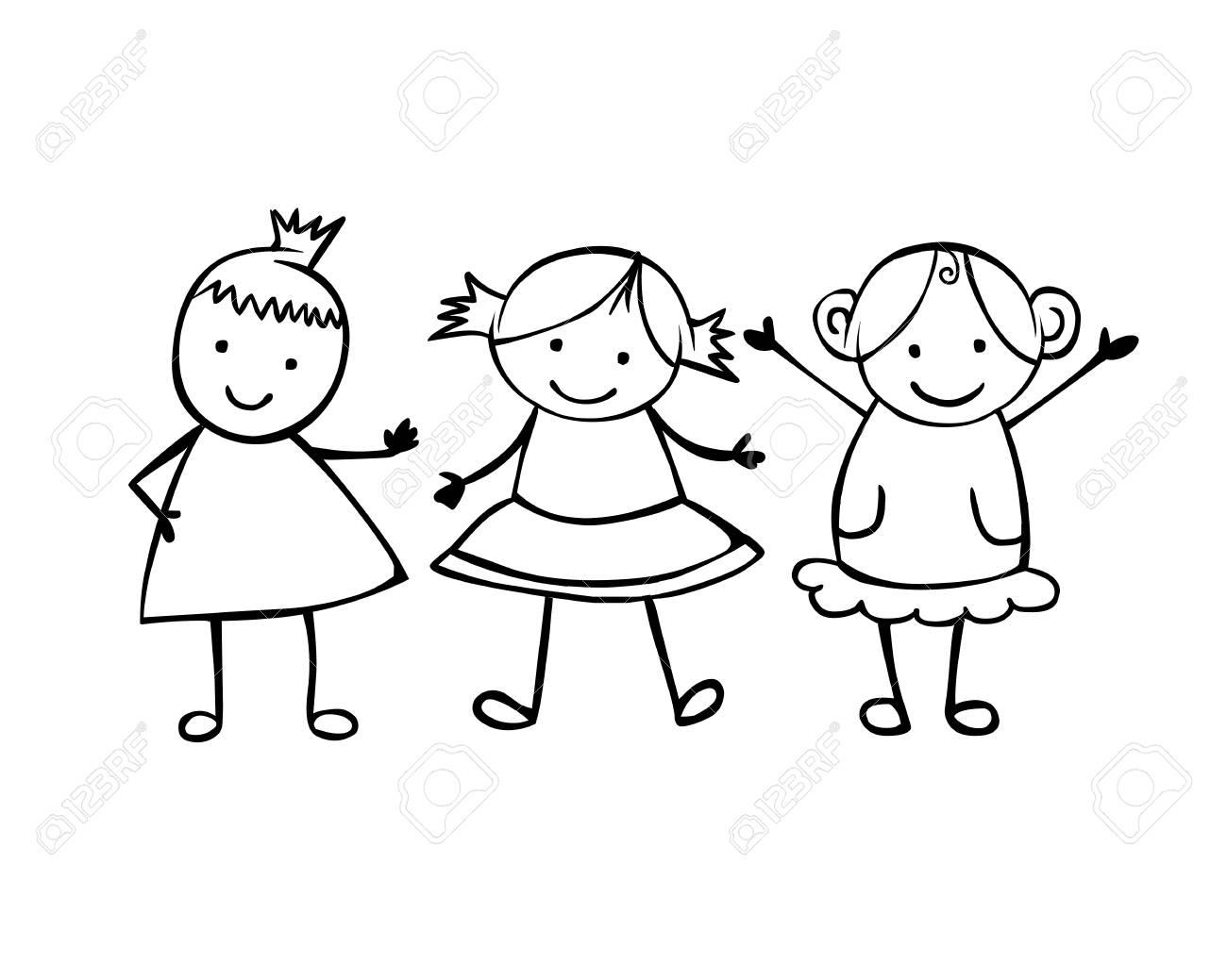 Friends in 3 girls. Little linear people in the children's style.