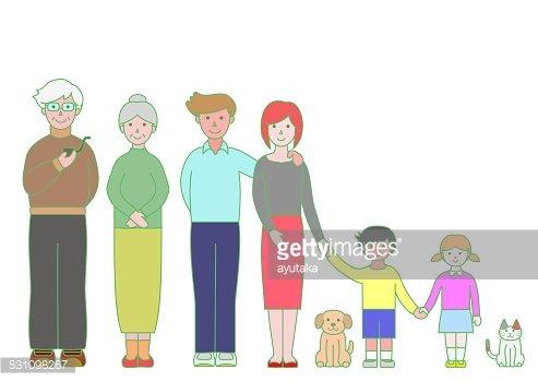 3 세대 가족 Clipart Image.
