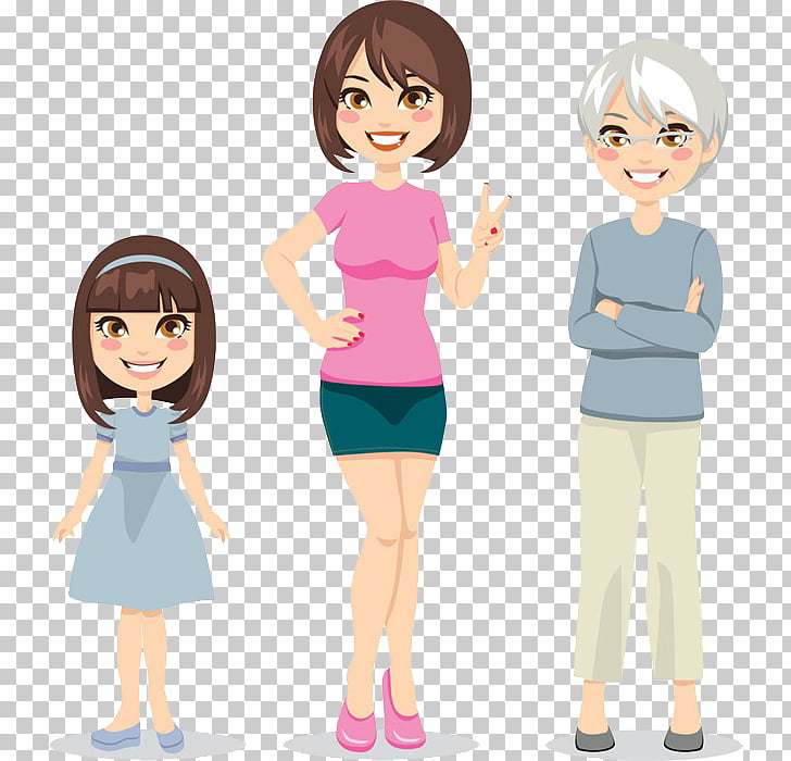 Old age Middle age Woman , Three generations of women, two.