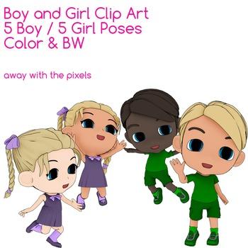 Boy and Girl Clip Art.