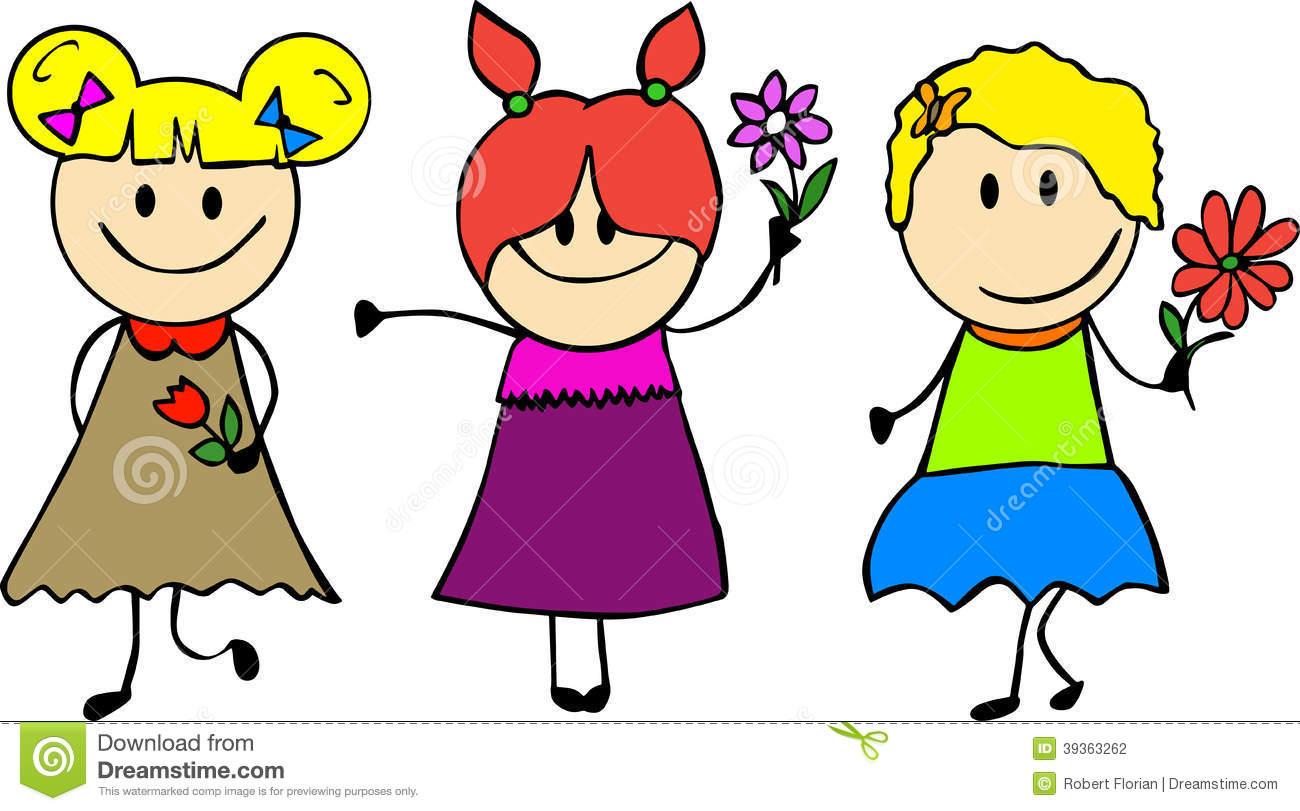 3 Little Girls Clipart.