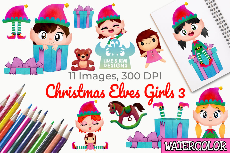 Christmas Elves Girls 3 Watercolor Clipart, Instant Download.