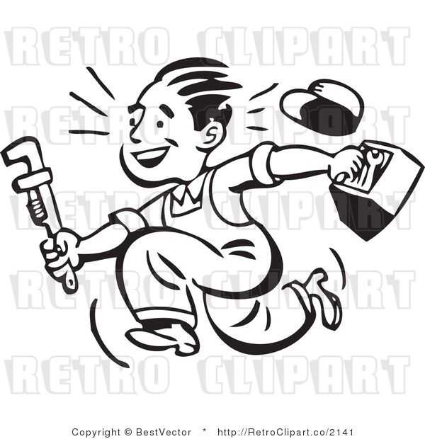 Retro clipart of smiling plumber guy running with toolbox.