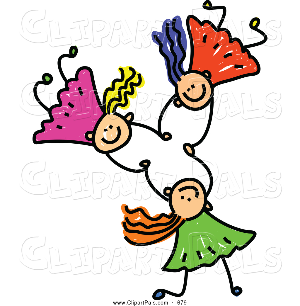 Three Friends Holding Hands Clipart.
