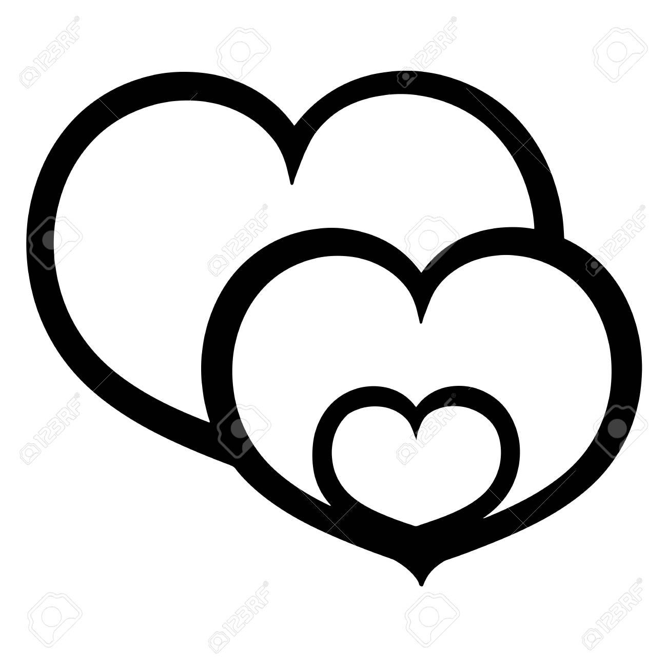 Family concept , Vector sign three hearts, Flat illustration...