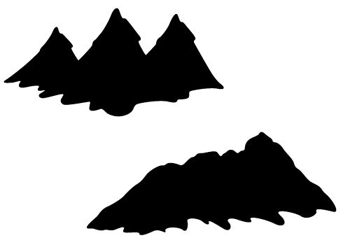 Mountain Silhouette Vector with Hills and Valleys Free.
