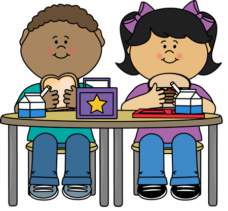 3 kids teens sitting at lunch table at school clipart.
