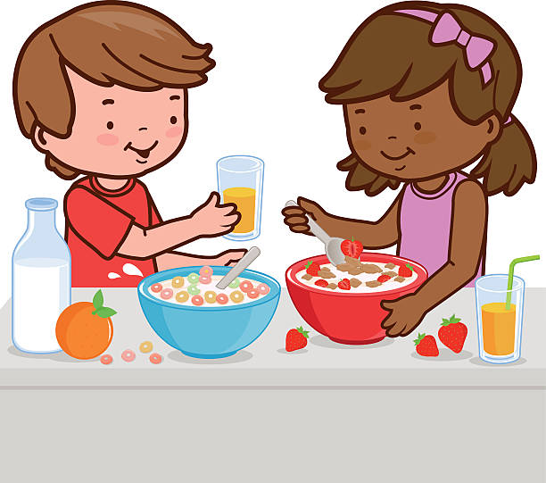 Child Eating Breakfast Clipart.