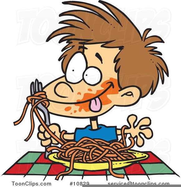 Kid Eating Spaghetti Clipart.