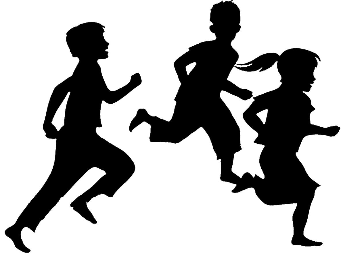 Child Silhouette Running Clip art.
