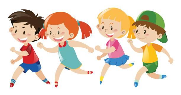 Kids Running Around Clipart.