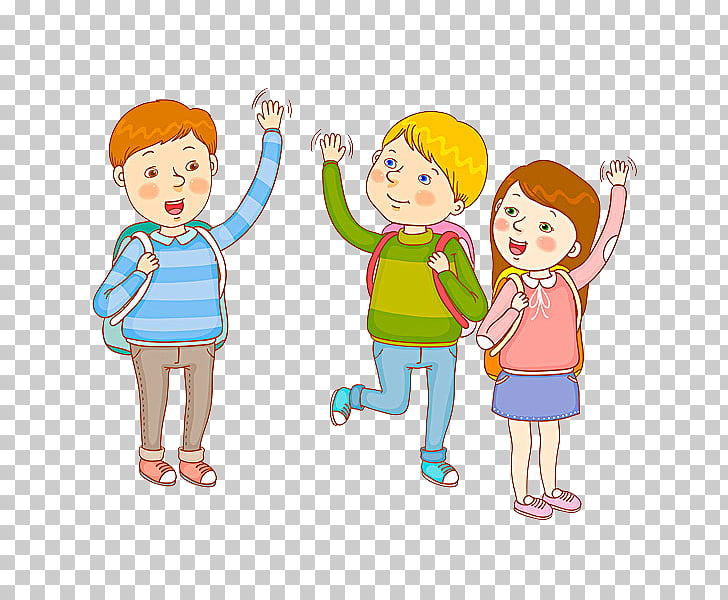 Cartoon , Goodbye student, three children cartoon characters.