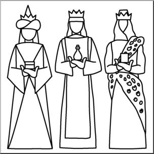 Clip Art: Religious: 3 Kings B&W I abcteach.com.
