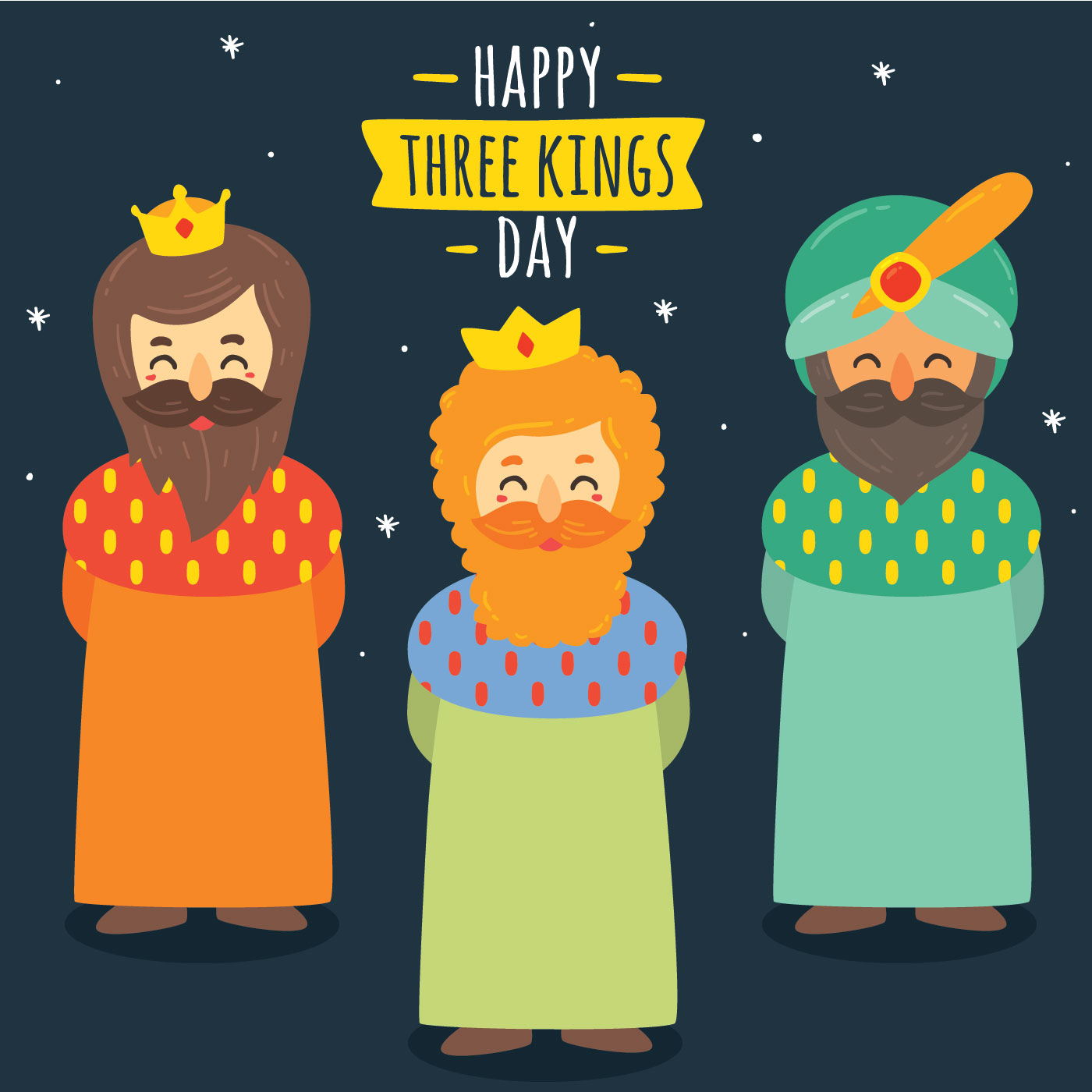 Three Kings Day Free Vector Art.
