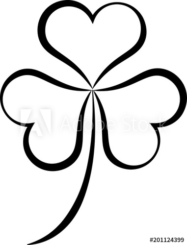 Shamrock Three Leaf Clover Calligraphic.