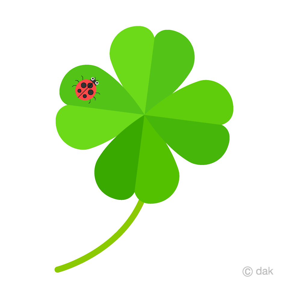 Free Ladybug and Four Leaf Clover Clipart Image|Illustoon.