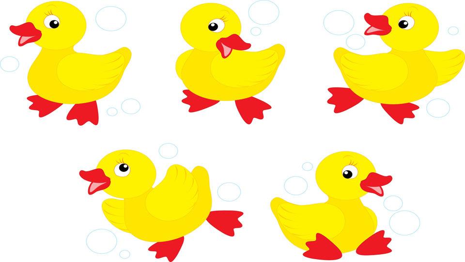 5 Ducks Clipart.