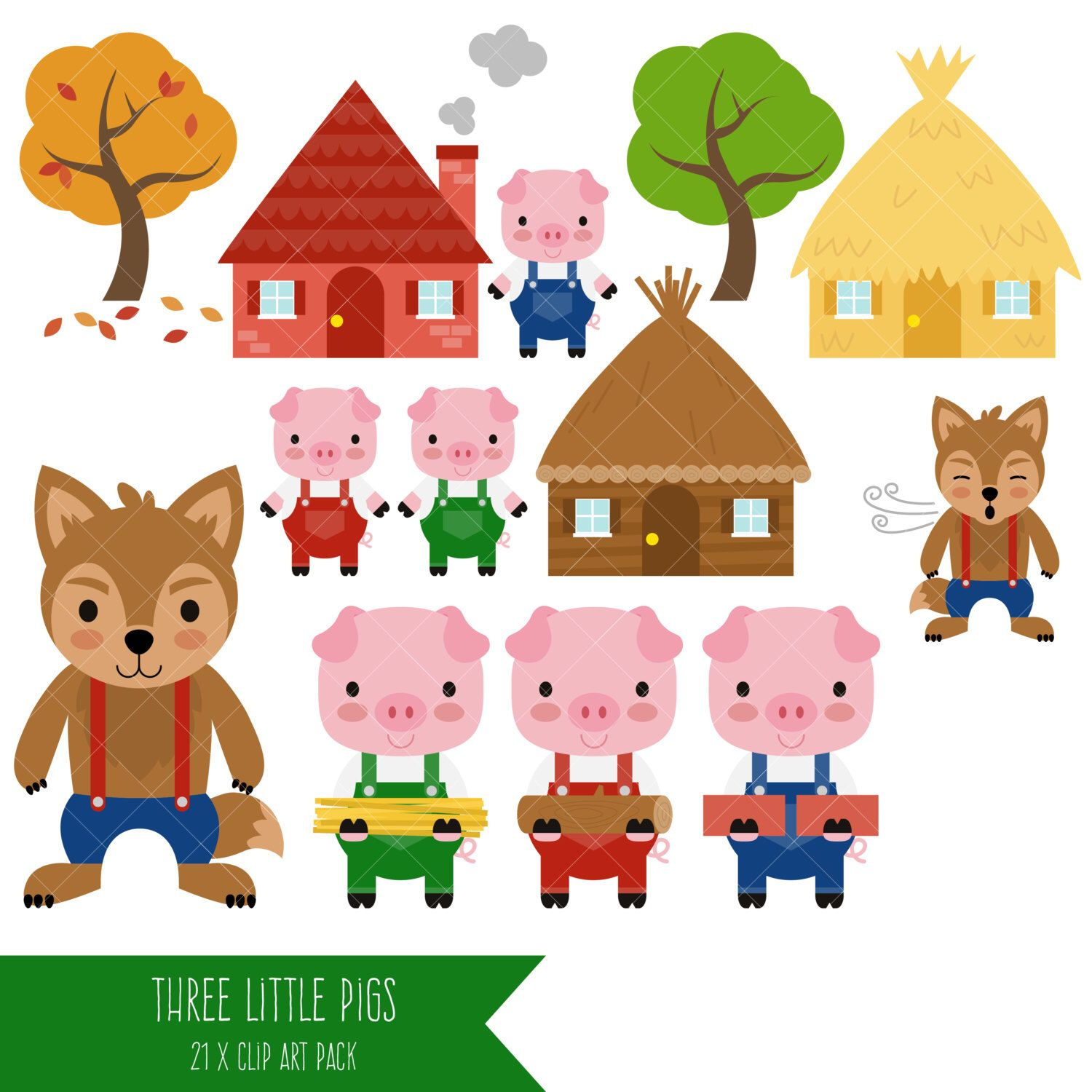 Three Little Pigs Clipart / Big Bad Wolf Clip Art.