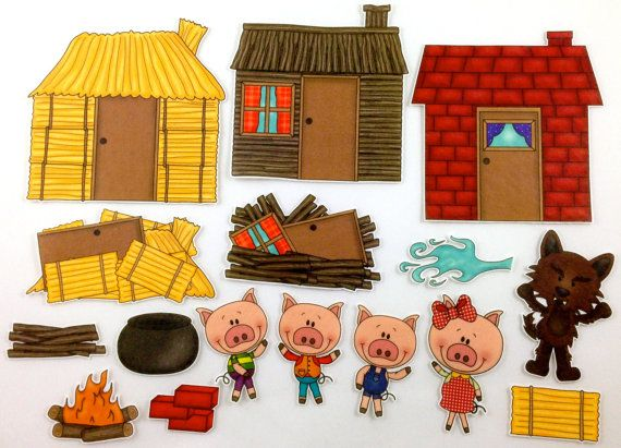 Three Little Pigs Felt Board Story Set.