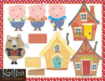 The Three Little Pigs Clip Art.