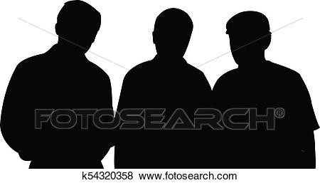 Three men together, silhouette Clip Art.