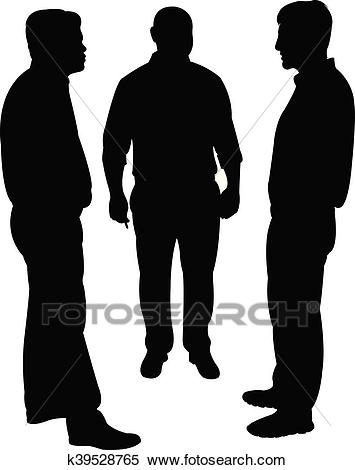 Silhouettes of three men standing a Clipart.