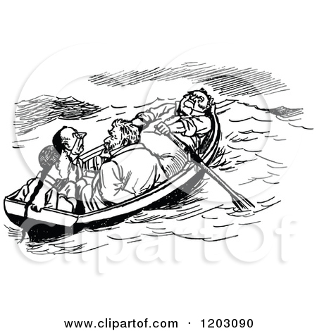 Clipart of a Vintage Black and White Boat with Four Men.
