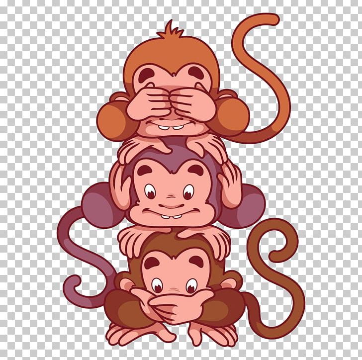 Three Wise Monkeys Cartoon Illustration PNG, Clipart.