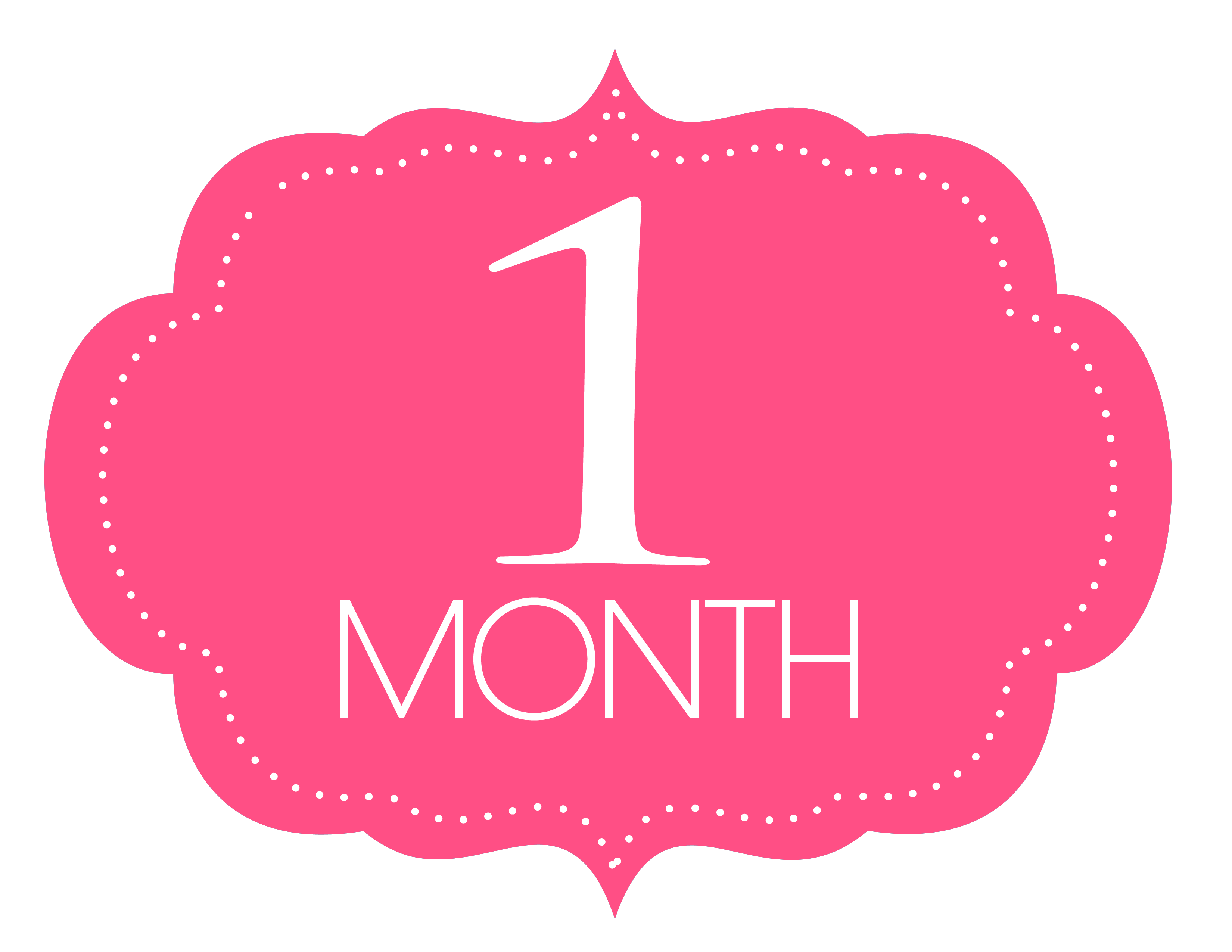 Free Printable 1 Month Old Sign.