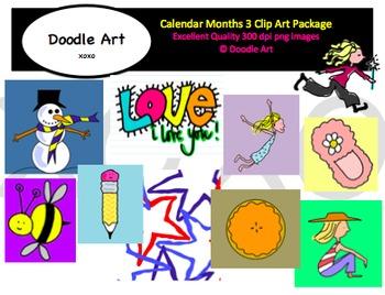 Calendar Months 3 Clipart Pack.