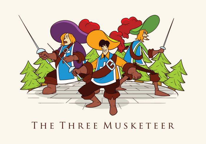 Three Musketeers Vector Illustration.