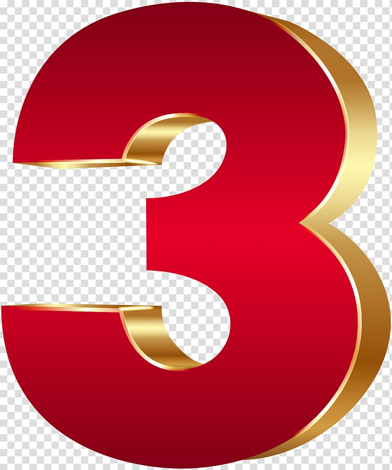 Red number 3 , Number 3D computer graphics , 3D Number Three.