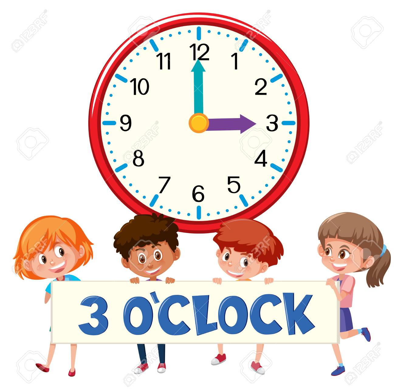 3 o'clock and students illustration.