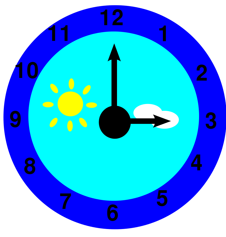 Free Clipart: Clock is pointing at three o\'clock.