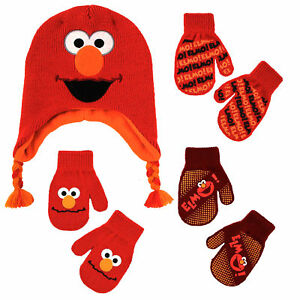 Details about Sesame Street Elmo Scandinavian Hat and 3 Pair Mitten Set,  Toddler Boys, Age 2.