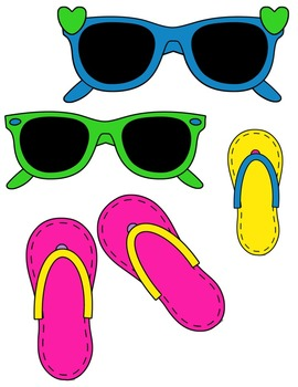 Sunglasses & Flip Flops Clip Art ~ Commercial OK ~ Summer.