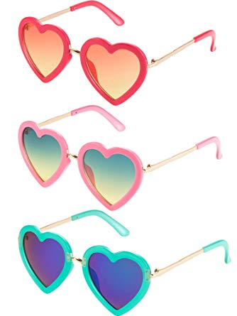 3 Pairs Kids Heart Shaped Sunglasses for Toddler Girls.